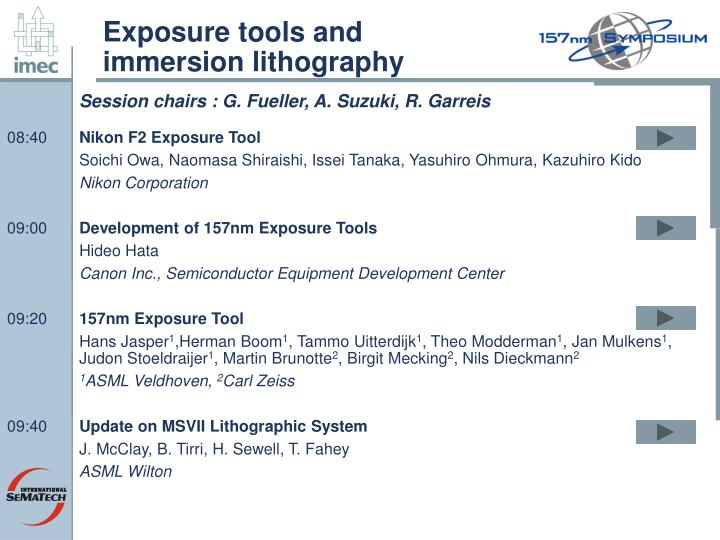 Exposure tools and immersion lithography