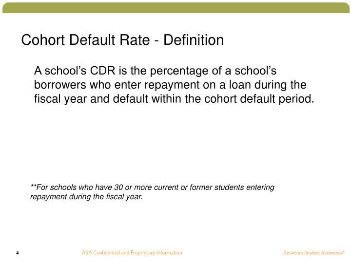 Cohort Default Rate - Definition