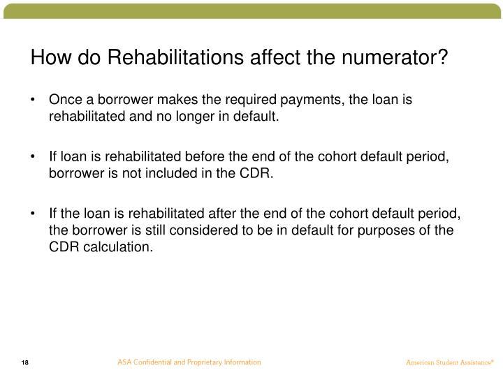 How do Rehabilitations affect the numerator?