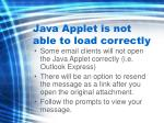 java applet is not able to load correctly