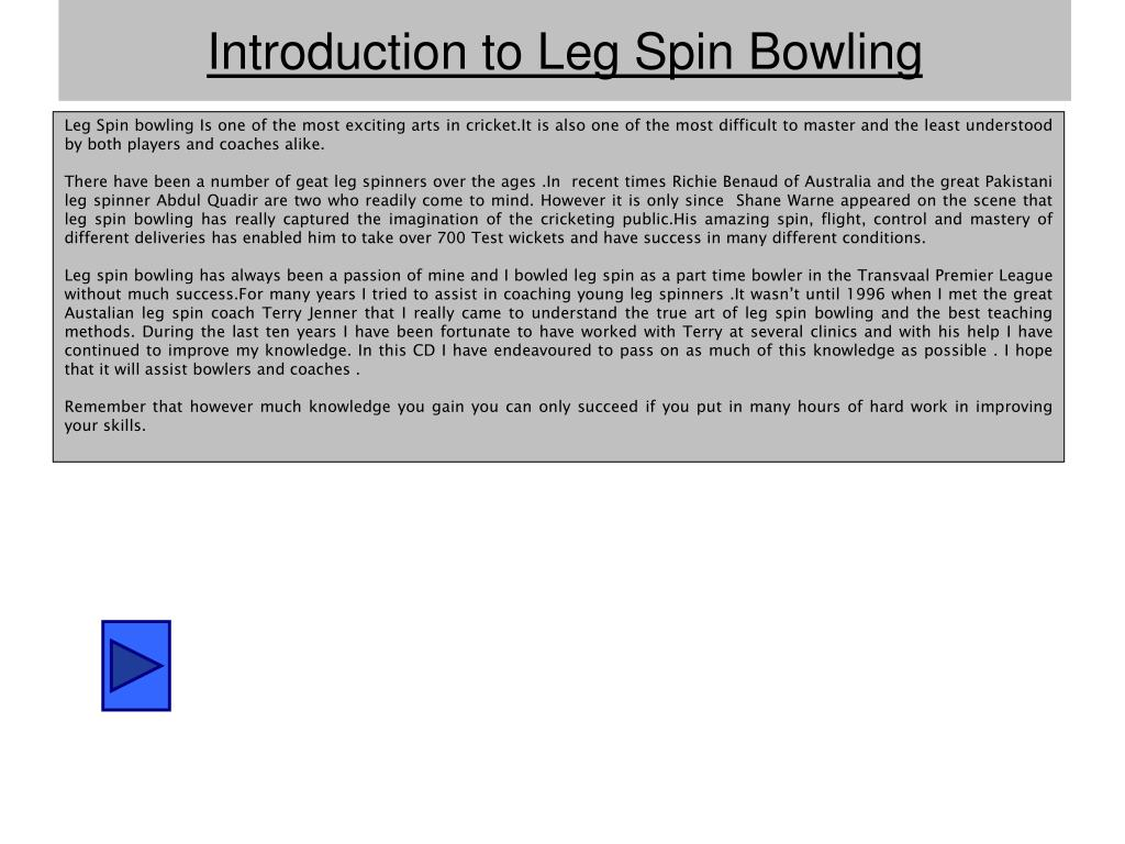 introduction to leg spin bowling l.