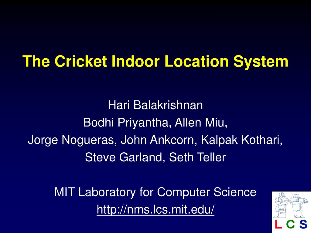 the cricket indoor location system l.