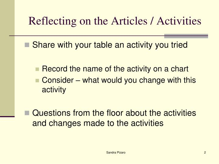 Reflecting on the articles activities