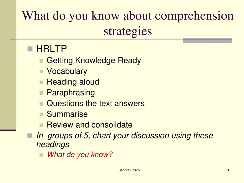What do you know about comprehension strategies