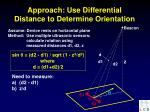 approach use differential distance to determine orientation