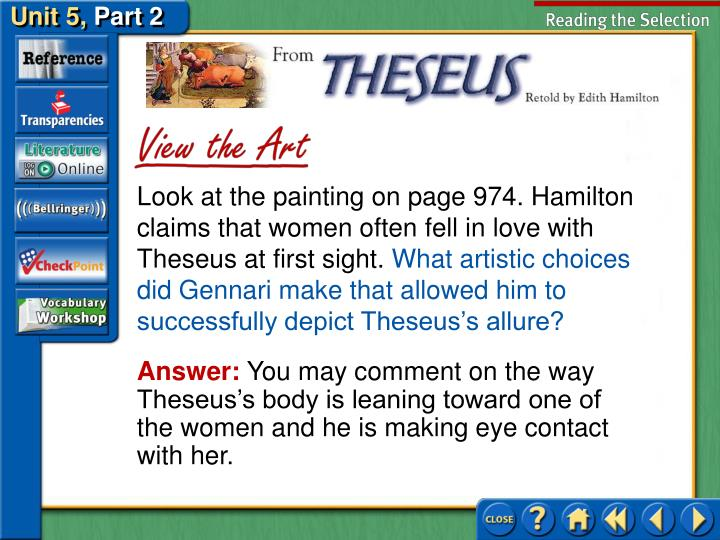 Look at the painting on page 974. Hamilton claims that women often fell in love with Theseus at first sight.
