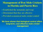 management of pest mole crickets in florida and puerto rico