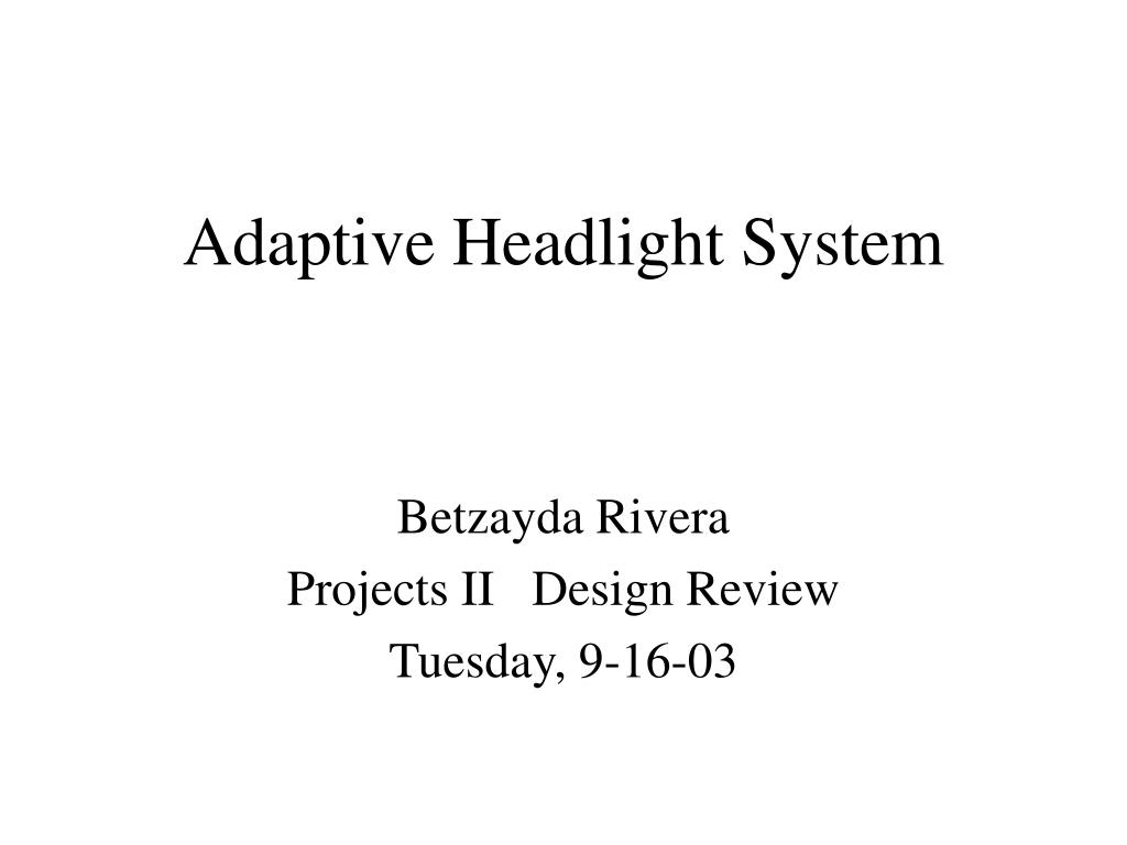 adaptive headlight system l.