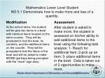 mathematics lower level student no 5 1 demonstrate how to make more and less of a quantity