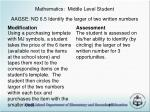 mathematics middle level student aagse no 6 5 identify the larger of two written numbers
