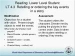 reading lower level student lt 4 3 retelling or ordering the key events in a story
