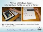 writing middle level student 2 1a identifying the title and author of the text38