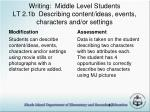 writing middle level students lt 2 1b describing content ideas events characters and or settings