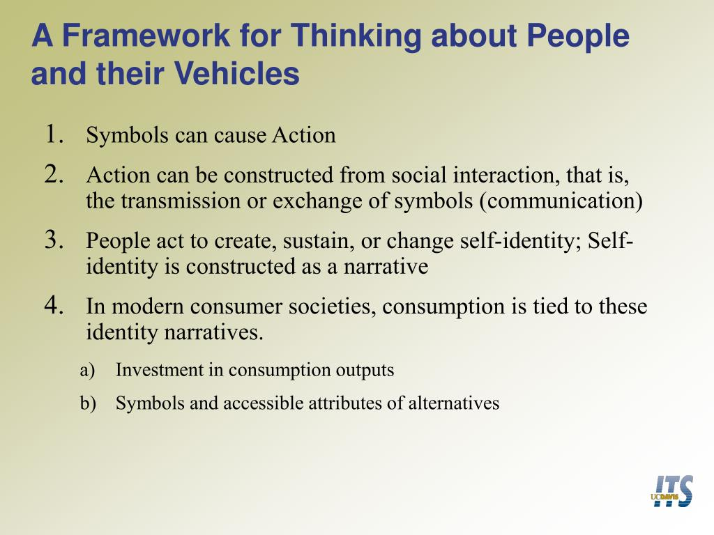A Framework for Thinking about People and their Vehicles