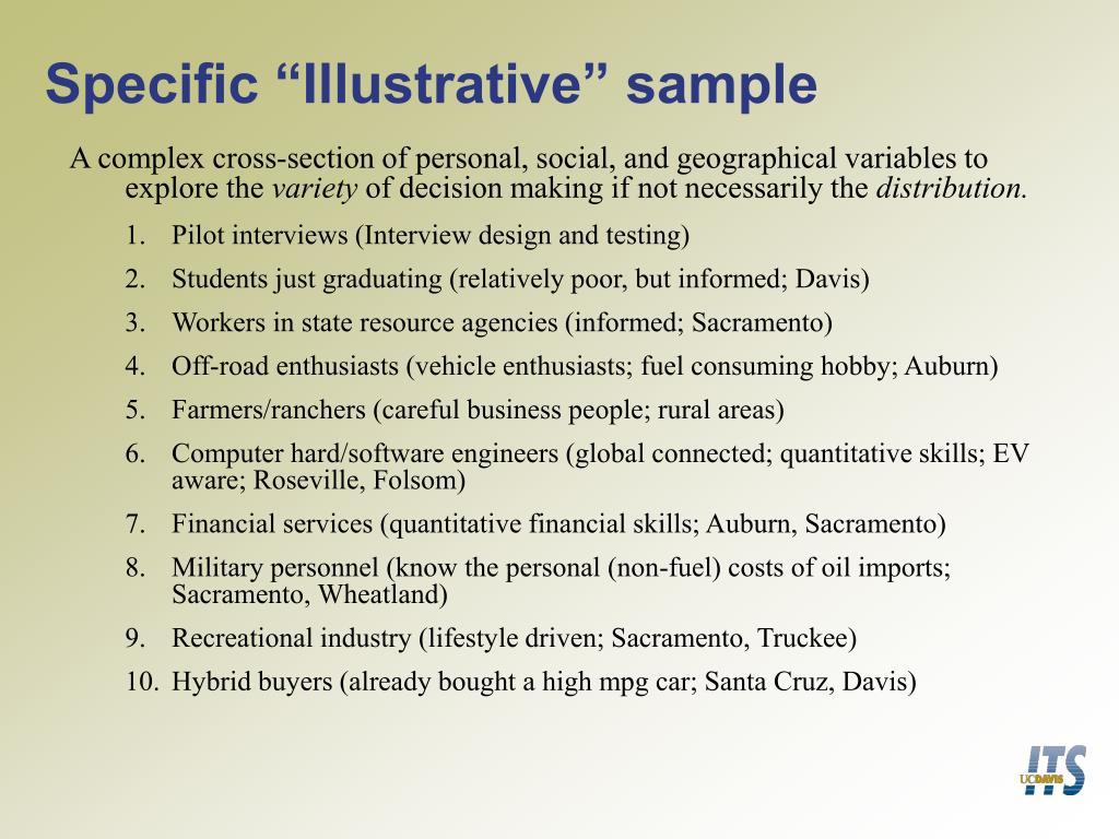 "Specific ""Illustrative"" sample"