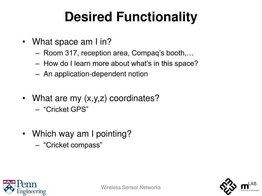 Desired Functionality