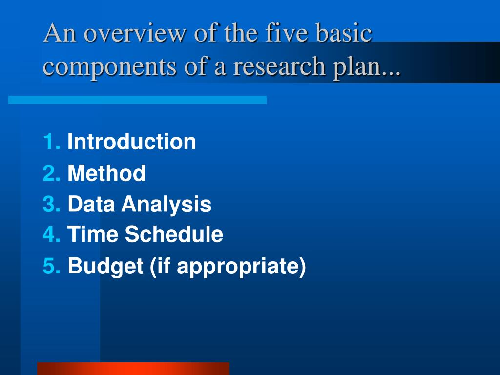 An overview of the five basic components of a research plan...
