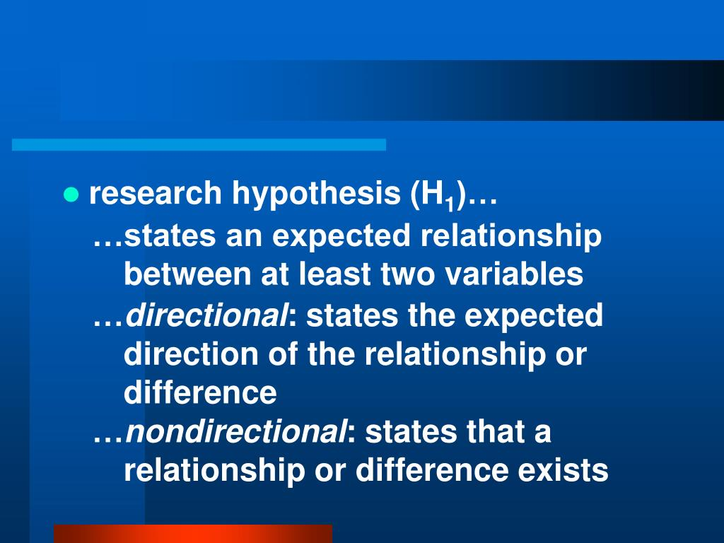 research hypothesis (H