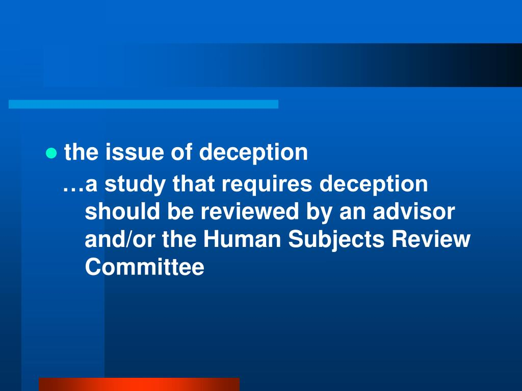 the issue of deception