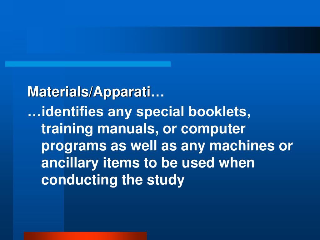 Materials/Apparati
