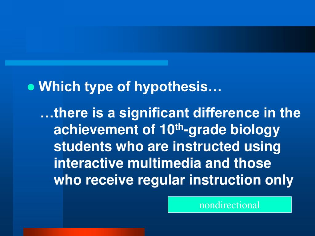 Which type of hypothesis…