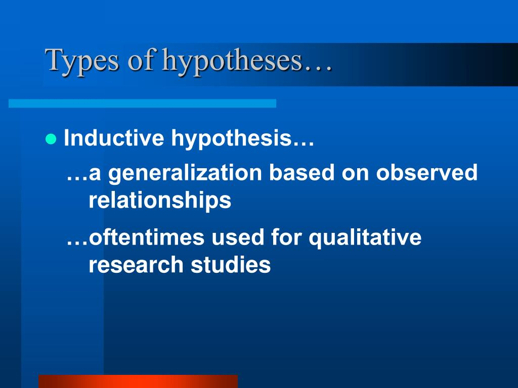 Types of hypotheses…