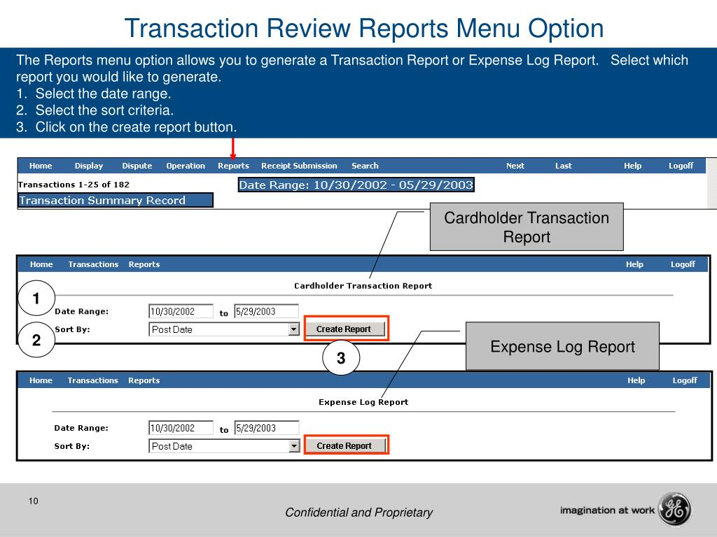 Transaction Review Reports Menu Option