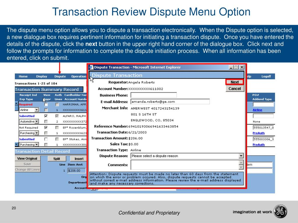 Transaction Review Dispute Menu Option