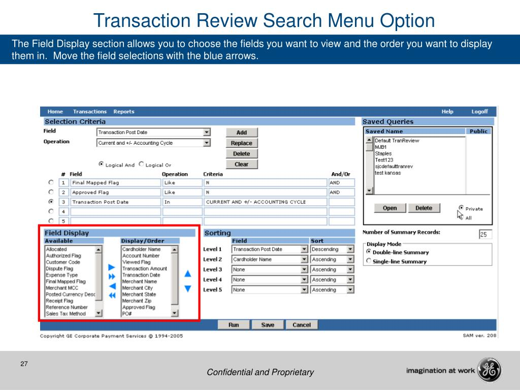 Transaction Review Search Menu Option
