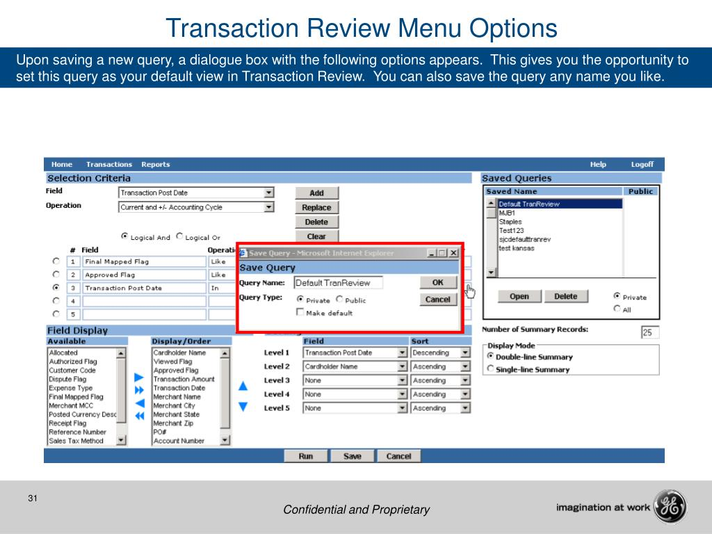 Transaction Review Menu Options