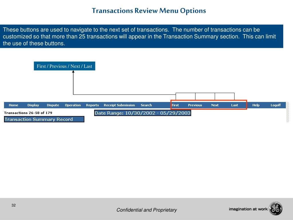 Transactions Review Menu Options