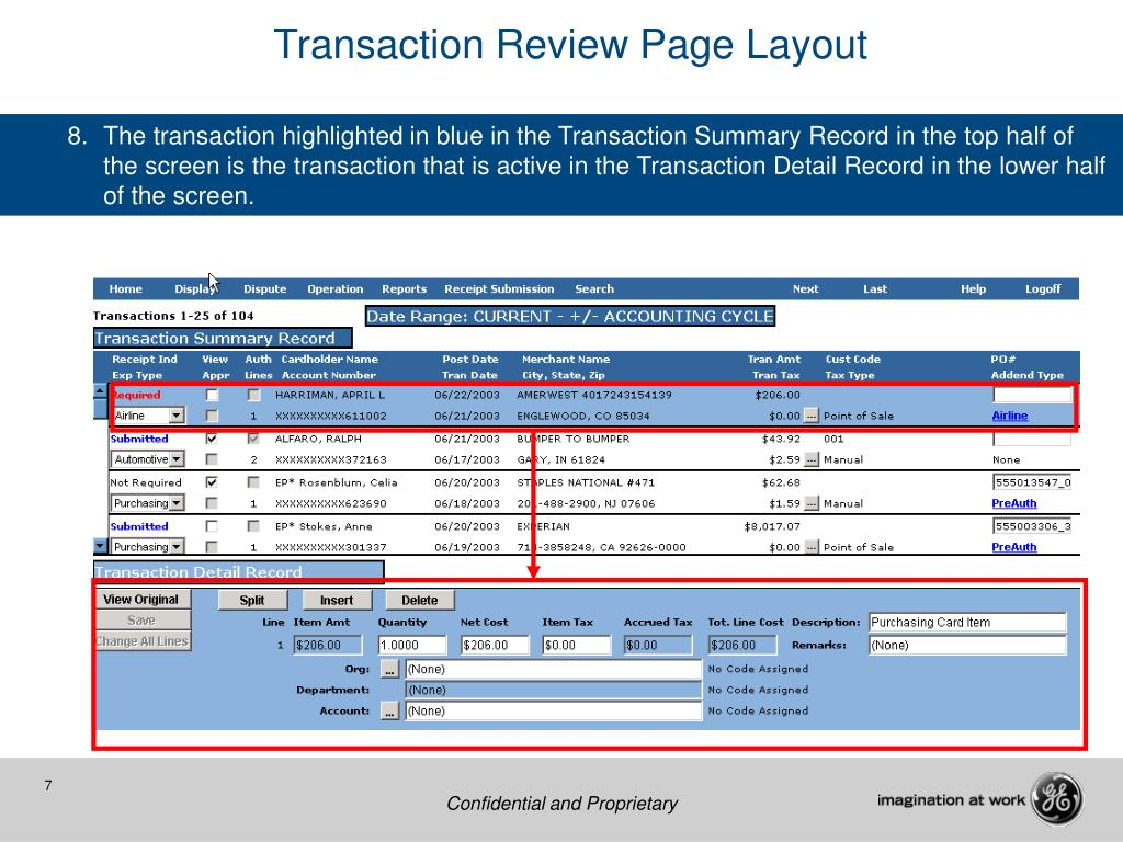 Transaction Review Page Layout