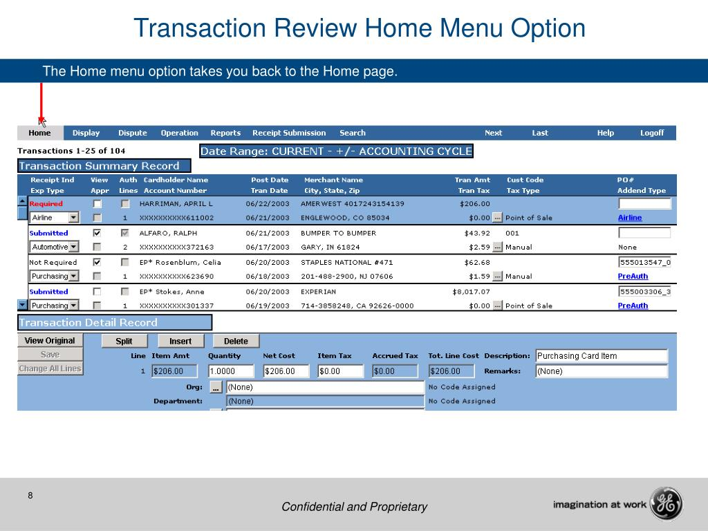 Transaction Review Home Menu Option
