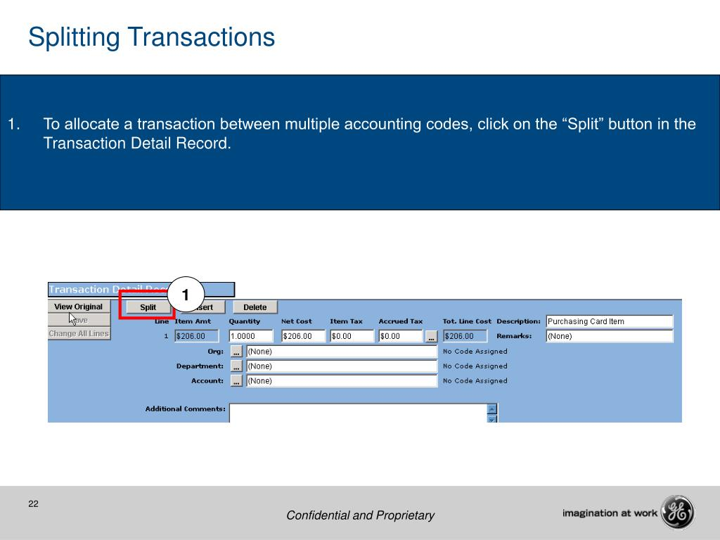 Splitting Transactions
