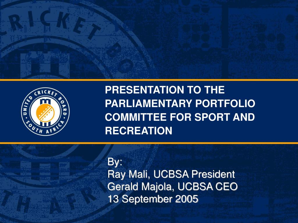 presentation to the parliamentary portfolio committee for sport and recreation l.