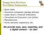inspection services for other industries