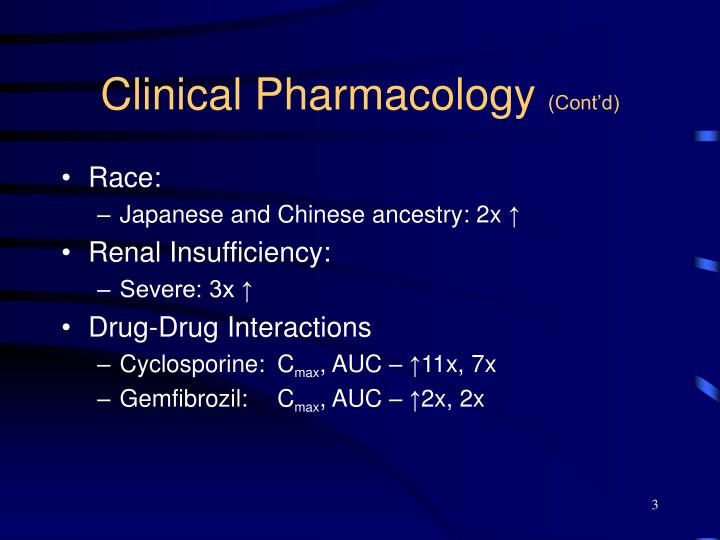Clinical pharmacology cont d