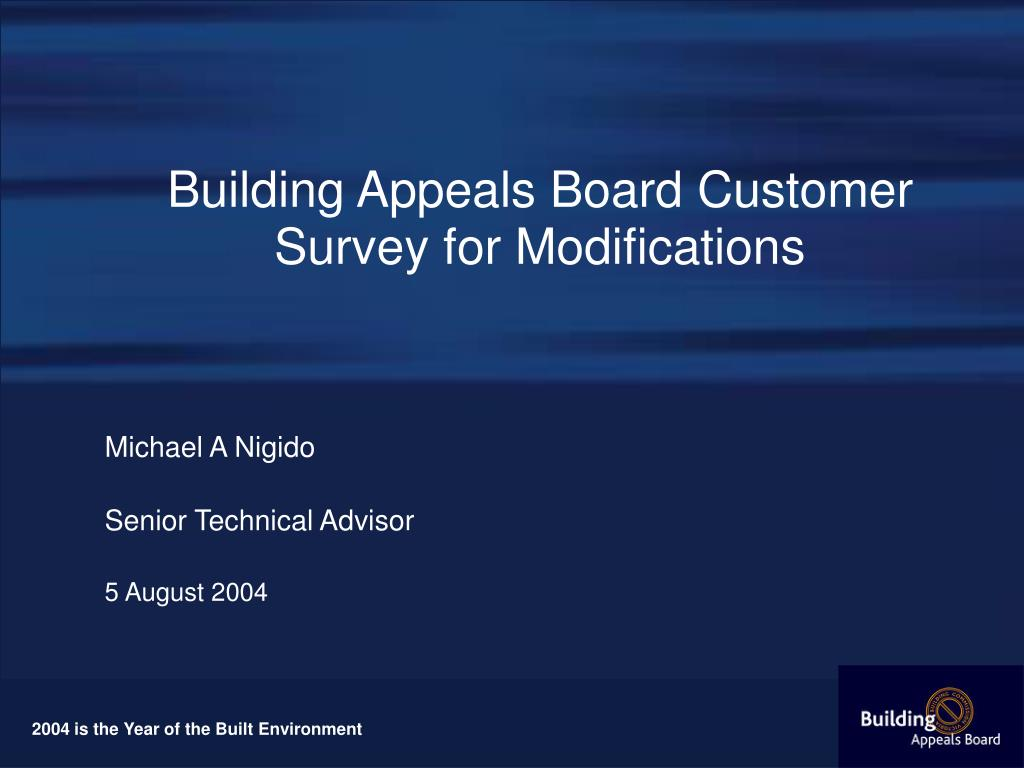 building appeals board customer survey for modifications l.