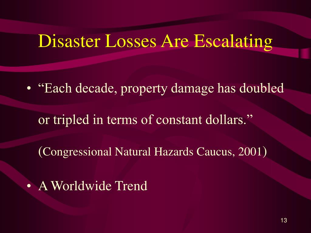 Disaster Losses Are Escalating