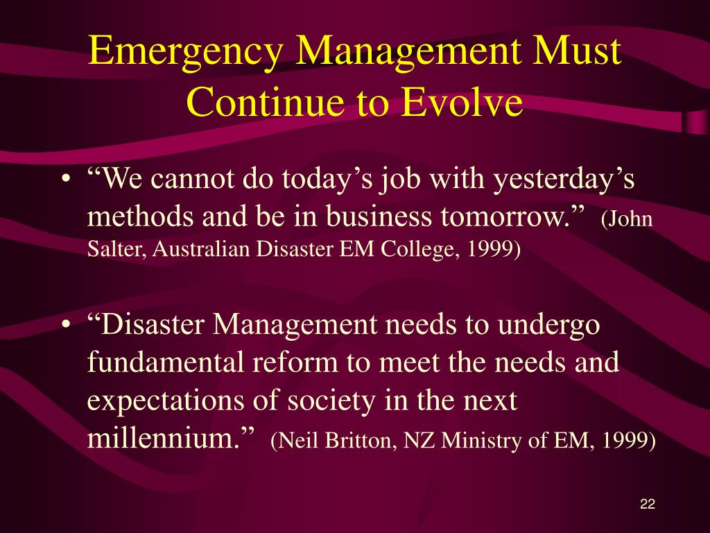 Emergency Management Must Continue to Evolve