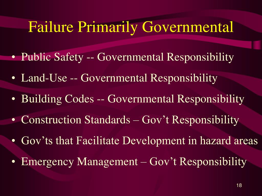 Failure Primarily Governmental