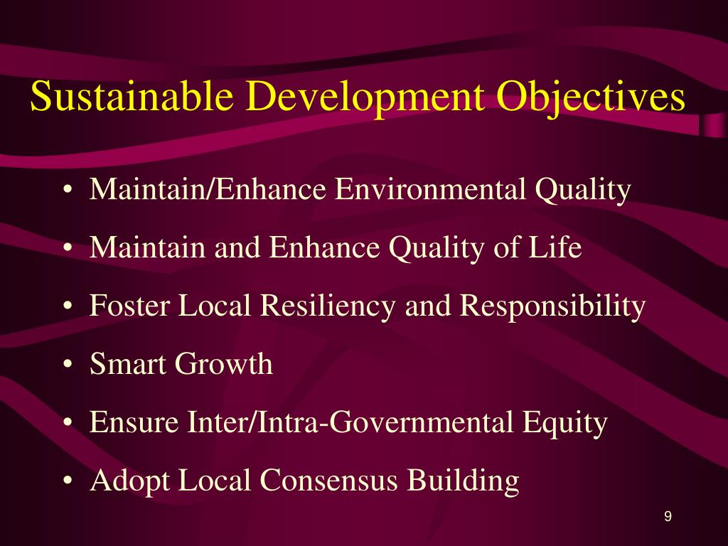 Sustainable Development Objectives