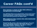 career faqs cont d