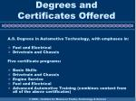 degrees and certificates offered