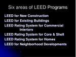 six areas of leed programs