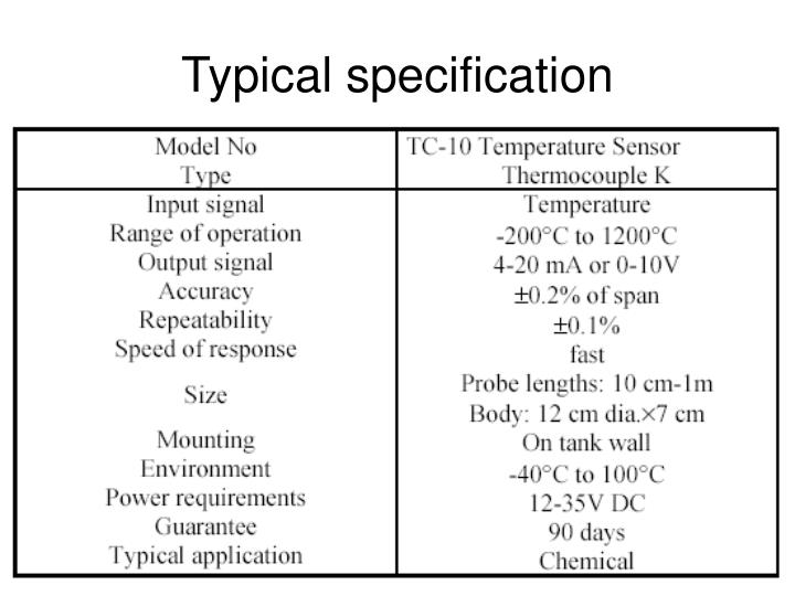 Typical specification