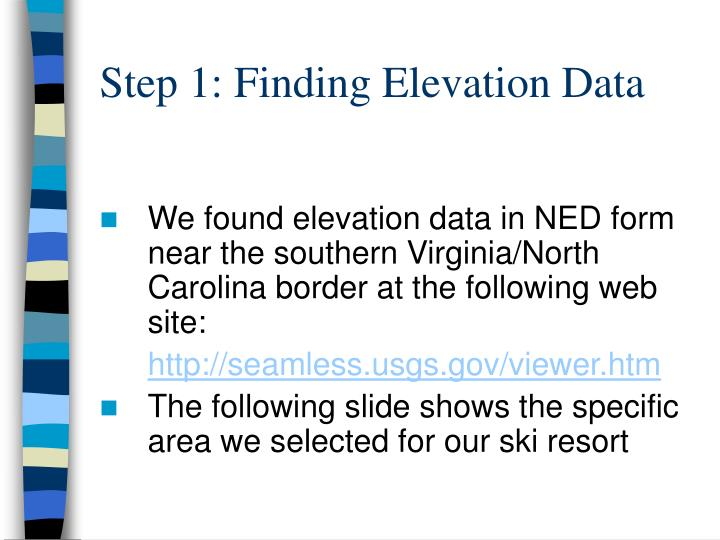Step 1: Finding Elevation Data