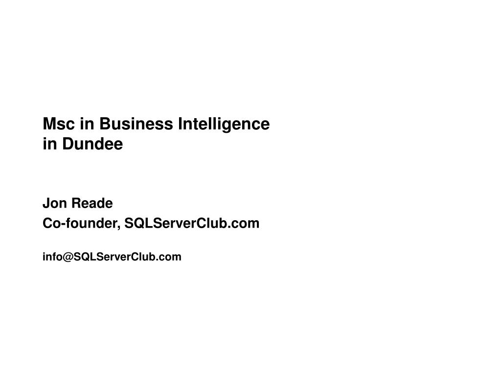 msc in business intelligence in dundee l.