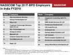 nasscom top 20 it bpo employers in india fy2010