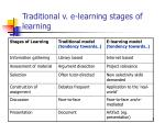 traditional v e learning stages of learning